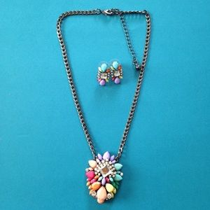 Jewelry - Colorful Gems & Diamond Necklace & Earrings set